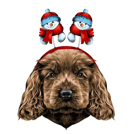 犬クリスマス雪だるまと角、彼の頭に鉢巻きでコッカー ・ スパニエルの子犬を繁殖、ベクトル グラフィック カラー写真をスケッチ  イラスト・ベクター素材