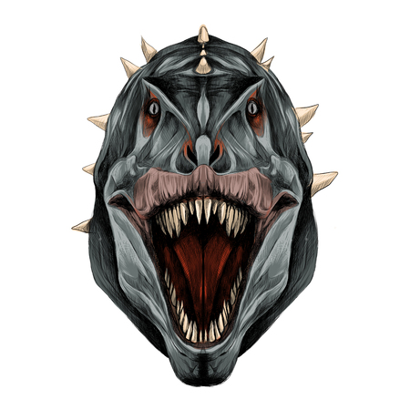 The dinosaur head is symmetrical looks right with an open mouth, grey skin color, sketch vector graphics color picture.