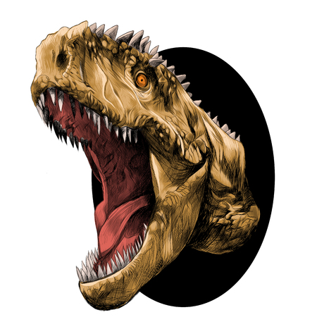 sketch out: dinosaur head with mouth open growling coming out of the circle, sketch vector graphics color picture