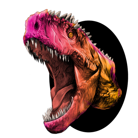 dinosaur head with mouth open growling coming out of the circle, sketch vector graphics color picture
