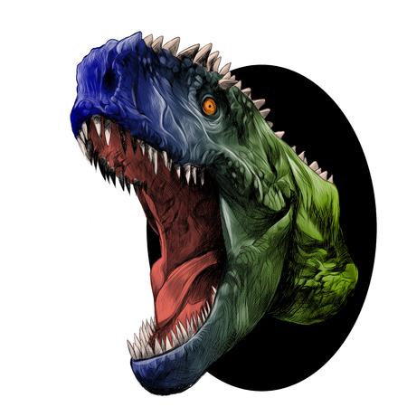 Cabeza de dinosaurio con boca abierta gruñendo saliendo del círculo, dibujo vectorial gráficos color imagen