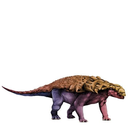 Un dinosaurio en el estegosaurio de crecimiento completo Armadillo con espigas en la parte posterior, bosquejo gráficos vectoriales patrón de color degradado rojo amarillo azul Foto de archivo - 81011284