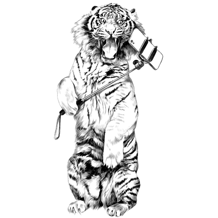 the tiger stands on hind legs with open mouth and makes a selfie sketch vector graphics black and white drawing