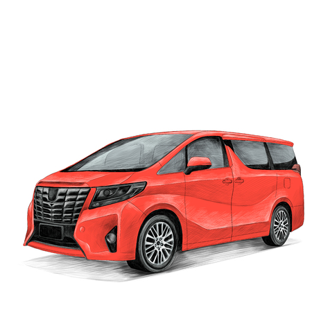 자동차 도요타 Alphard 스케치 벡터 그래픽 컬러 사진 일러스트