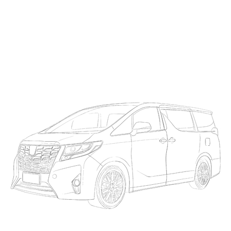 car Toyota Alphard sketch vector chart contour line drawing black and white