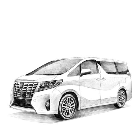 Auto Toyota Alphard Skizze Vektorgrafiken Schwarz-Weiß-Zeichnung