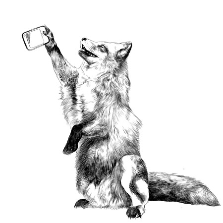 a Fox on its hind legs is photographed taking a selfie on the phone, sketch vector graphics black and white drawing Illustration