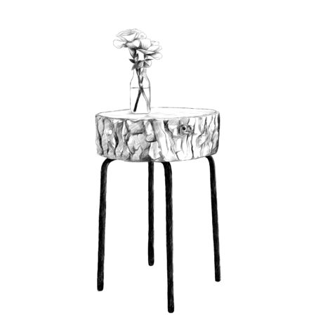 decorative table with top made of logs with a vase and flowers sketch vector graphics black and white drawing Illustration