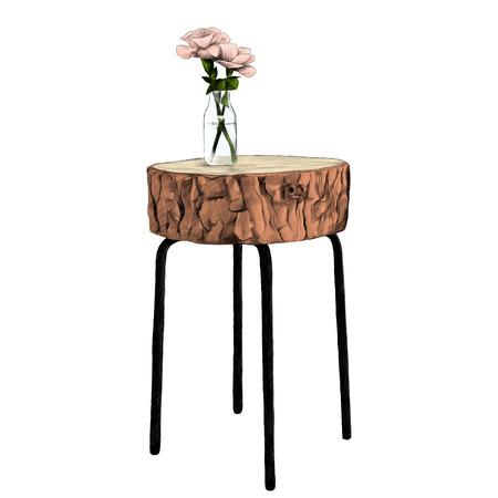 decoratieve tafel met top gemaakt van boomstammen met een vaas en bloemen schets vectorafbeeldingen kleurenfoto Stock Illustratie