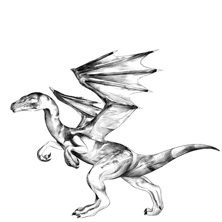 the dragon goes on its hind legs sketch vector graphics black and white drawing Ilustrace