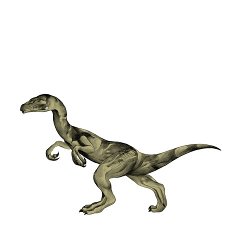 paleontology: the dinosaur is on its hind legs sketch vector graphics color picture