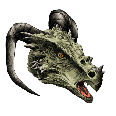 dragon head with horns sketch vector graphics color drawing of a green skin Иллюстрация