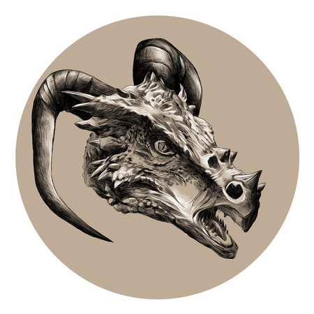 dragon head with horns sketch vector graphics black and white pattern on a beige background circle
