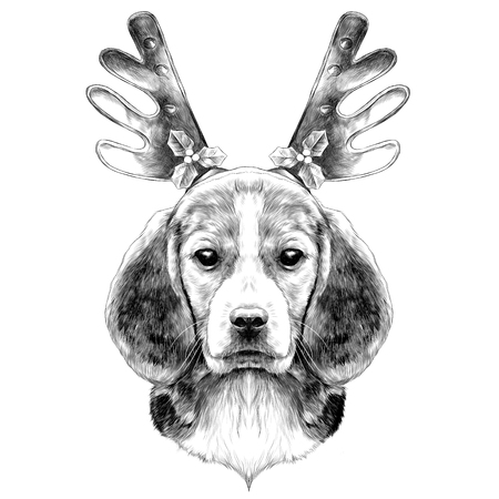 dog head breed the Beagle on the head Christmas headband with horns deer sketch vector graphics black and white drawing