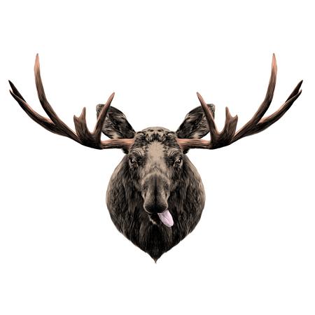 Hert hoofd grappig met de taal schets vector grafische kleur Stockfoto - 84700258