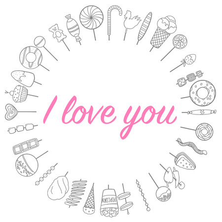 love flowers sweets frame in a circle sketch vector graphics black and white monochrome love