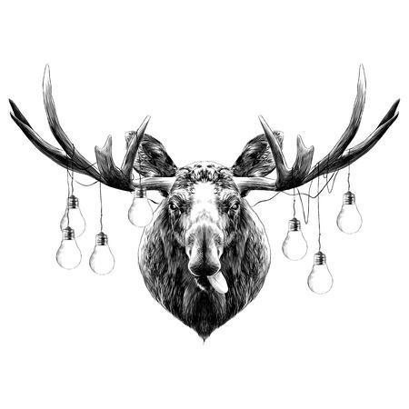 herten hoofd grappig met de taal schets vectorafbeeldingen zwart en wit monochroom Stock Illustratie