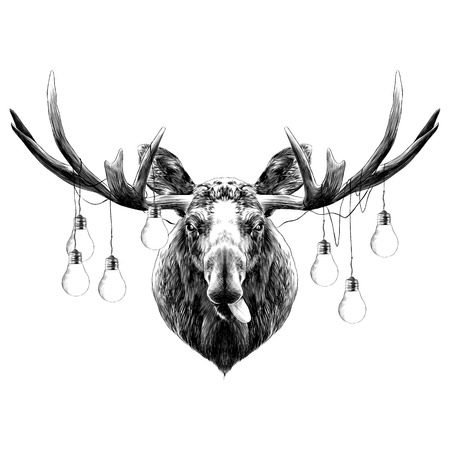deer head funny with the language sketch vector graphics black and white monochrome Illustration