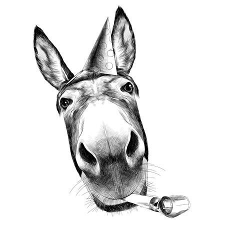 culo vista frontale con una grande testa, guarda in bianco e nero illustrazione monocromatica con il cappuccio e saluti tune