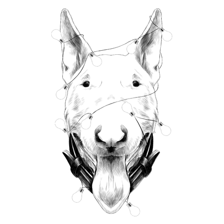 dog head breed bull Terrier sketch vector graphics monochrome new years holiday with lights
