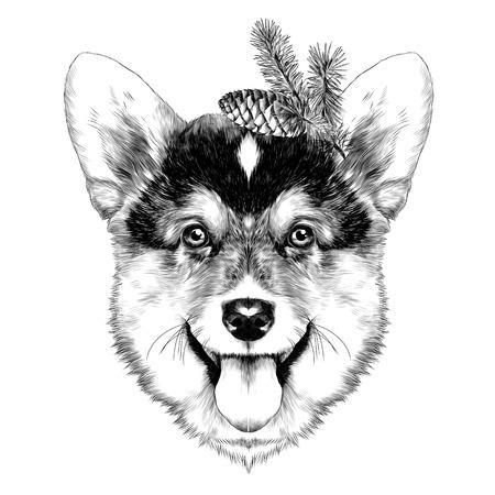 개 품종 웨일스 어 Corgi 스케치 벡터 그래픽 단색 크리스마스 범프