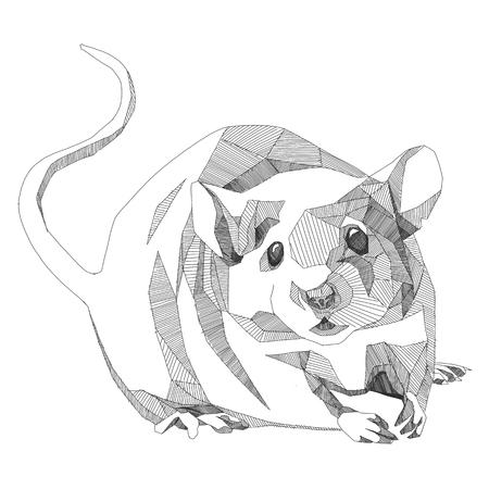 マウス スケッチ ベクトル グラフィックスは白黒