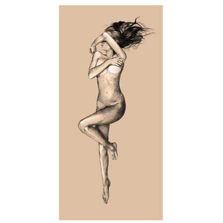 Nude girl on a beige background, sketch vector, graphics color picture
