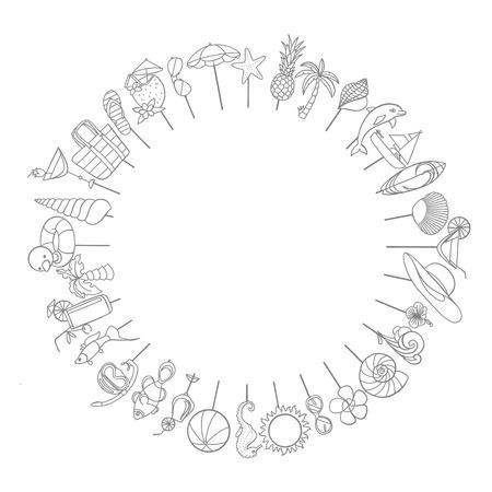 Summer elements forming a circle frame design. Stok Fotoğraf - 91602643