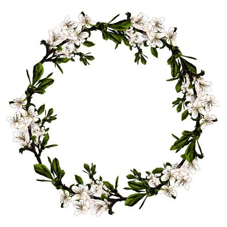 花で作られた枝フレーム。