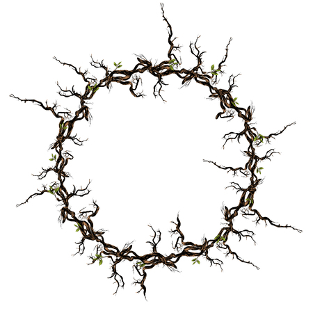 Branches frame made of flowers. Ilustrace