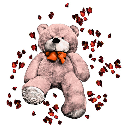 Bear toy soft ivy with rose petals sketch. Vector graphics, color picture.