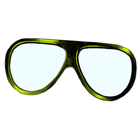 Sunglasses sketch illustration. Vector graphics, color picture. 일러스트