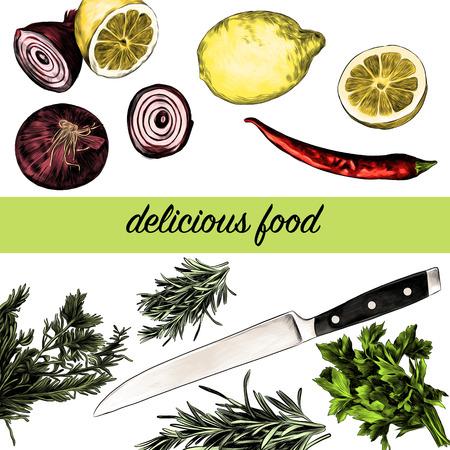 レモンペッパーパセリオニオンナイフ、グリーンスケッチ。ベクターグラフィックス、カラー画像。