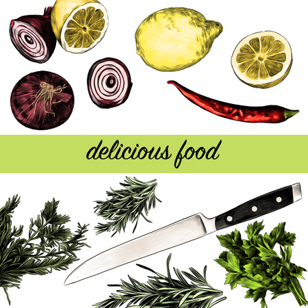 Lemon pepper parsley onion knife, green sketch. Vector graphics, color picture. Иллюстрация