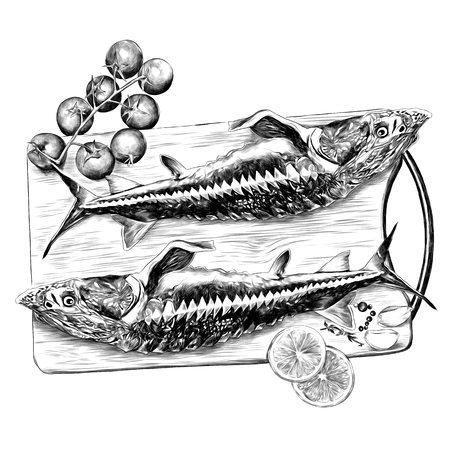 sturgeon fish on a cutting Board with tomatoes lemon and garlic sketch vector graphics black and white monochrome pattern