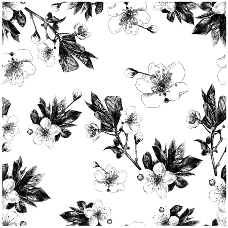 branches of Apple flowers seamless pattern monochrome black and white drawing Ilustração