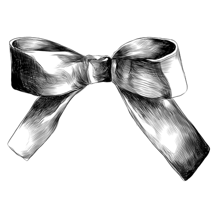 bow decoration on the neck red sketch vector graphics monochrome black - and- white drawing