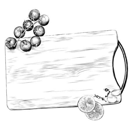 tomatoes lemon garlic seasoning cutting Board sketch vector graphics monochrome black-and-white drawing Stock Illustratie