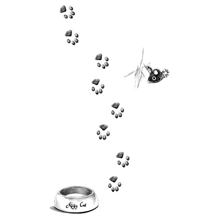 paw prints is a feeder for the cat sketch vector graphics monochrome black-and-white drawing Illustration