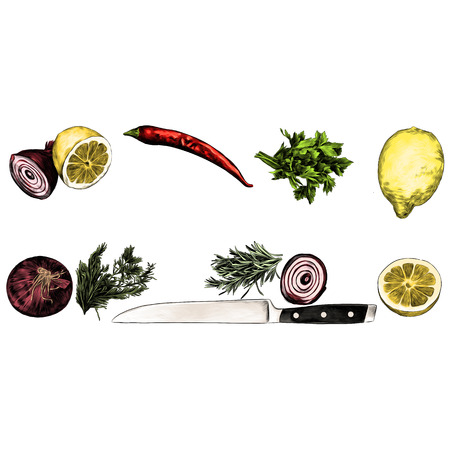 lemon pepper parsley onion knife green sketch vector graphics color picture Иллюстрация