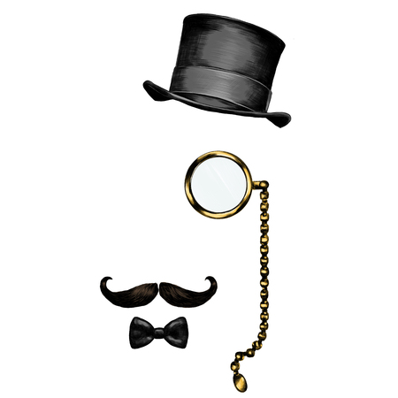 glasses hat beard sketch vector graphics color picture