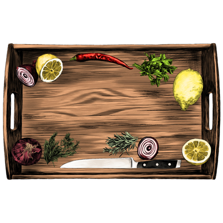box products pepper lemon parsley onion knife green sketch vector graphics color picture Çizim