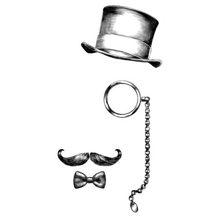 okulary kapelusz broda szkic grafiki wektorowej czarno-biały wzór monochromatyczny Ilustracje wektorowe