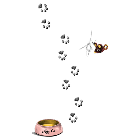 paw prints is a feeder for the cat sketch vector graphics color picture Reklamní fotografie - 95675336