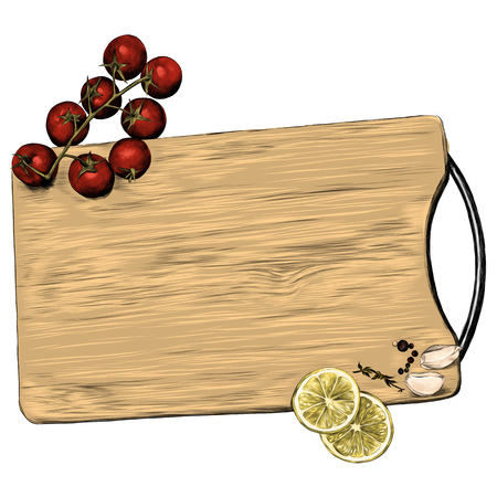 tomatoes lemon garlic seasoning cutting Board sketch vector graphics color picture Stock Illustratie