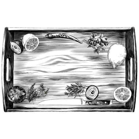 box products pepper lemon parsley onion knife green sketch vector graphics monochrome black-and-white drawing Illustration