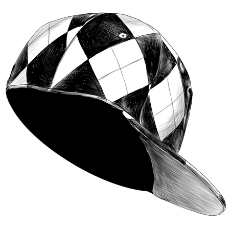 cap head wear hat baseball cap sketch vector graphics monochrome black-and-white drawing