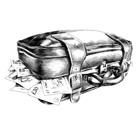 The suitcase with the money sketch. Vector graphics illustration.