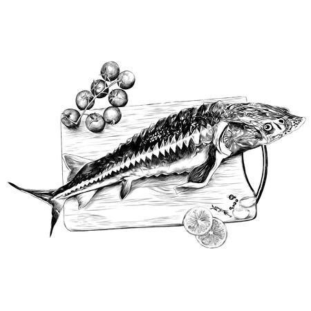 tomaten citroen knoflook kruiden snijplank vis steur schets vectorafbeeldingen zwart-wit zwart-wit tekening Stock Illustratie