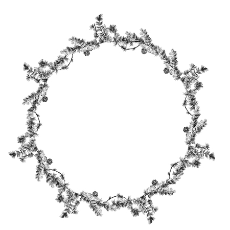Frame made of larch, sketch. Vector graphics monochrome, black-and-white drawing.